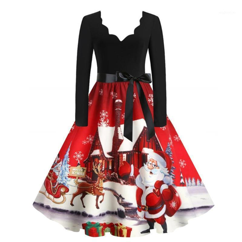 Vestidos informales Mujeres Imprimir Vestido de invierno Negro Manga Larga Vintage Fiesta de Navidad Pin Up Rockabilly Robe Femme Santa Claus Tallas # T1G1