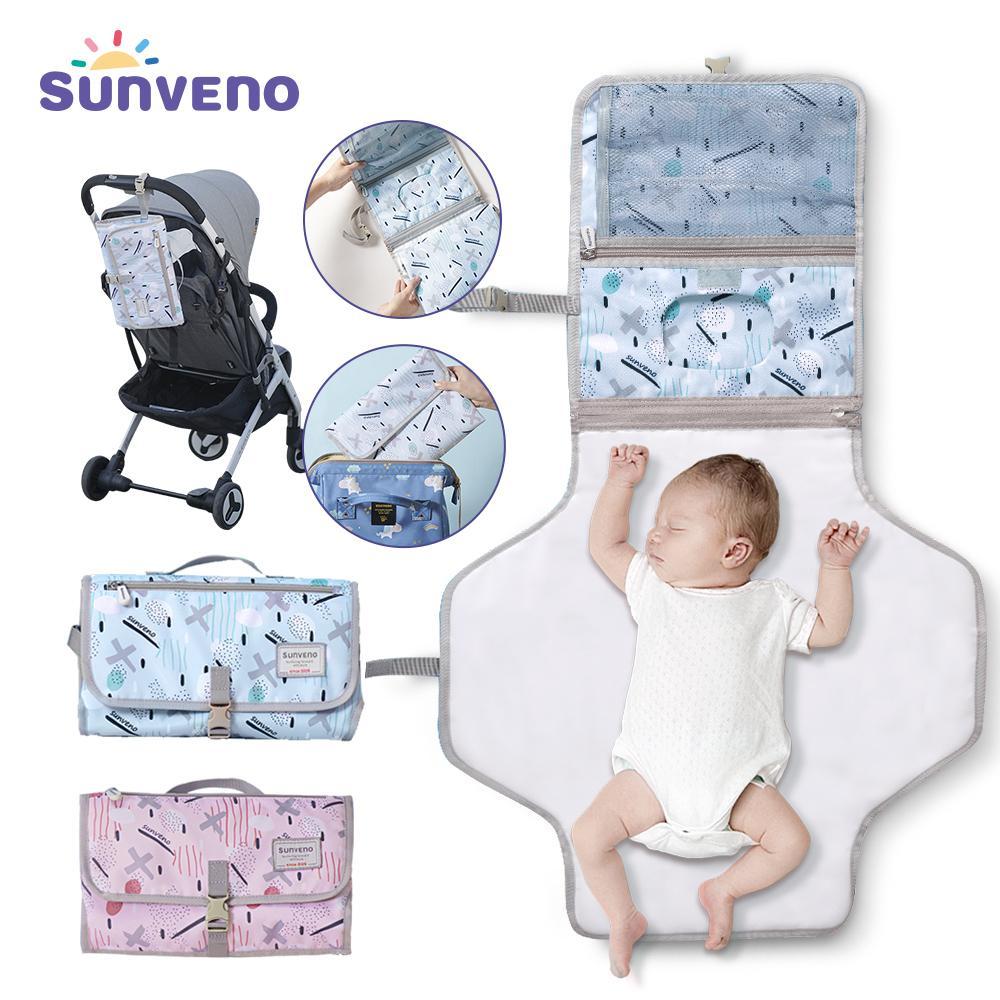 Sunveno Baby Changing Mat Portable Foldable Washable Waterproof Mattress Changing Pad Mats Reusable Travel Pad Diaper 201117