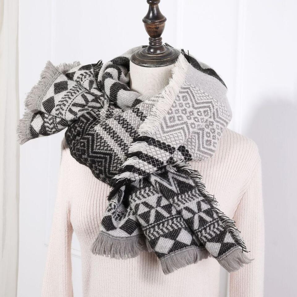 Женщины Геометрические шарфы с необработанными краями женские девушки накидки теплые мягкие прямоугольники шали жаккардовые обертывания женские длинные зимний шарф