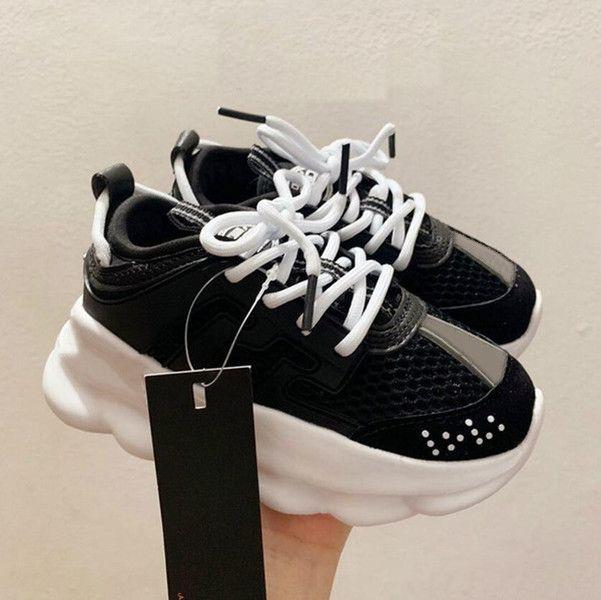 Action Top Kids Sneakers إيطاليا مصمم 2021 متعدد الألوان المطاط الجلد المدبوغ ليوبارد الأبيض طباعة سميكة أسفل الفتيان بنات أحذية حجم 26-35