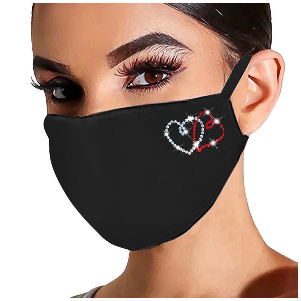 Red riutilizzabile lavabile in tessuto per le donne Cuore mascherina di cristallo modello con strass Viso Covering