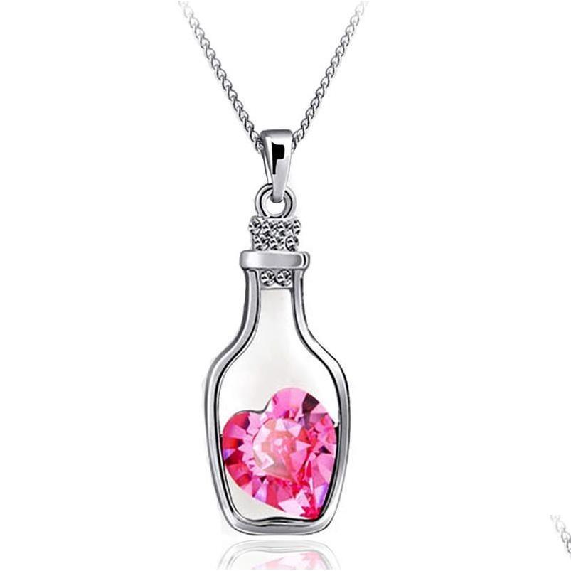 Wholesale-n712 Creative Women Fashion Necklace Ladies Popular Style Love Drift Bottles Pendant Necklace Blue Hear jllxNR dh_garden