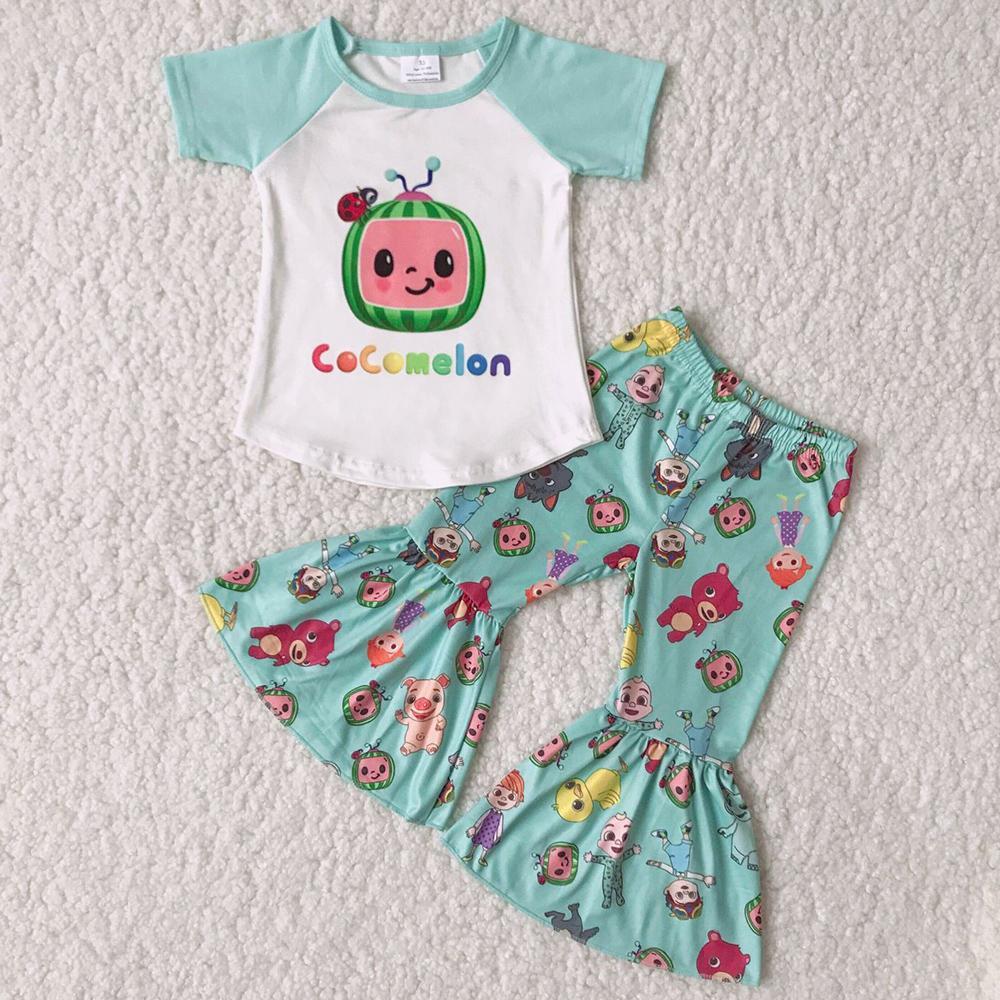 2021 CALIENTE CALIENTE NIÑOS Ropa de diseñador Niñas Boutique Trajes Moda Niños Bebé Bebé Autoraje Bell Bottufits Venta al por mayor Ropa para niños RTS