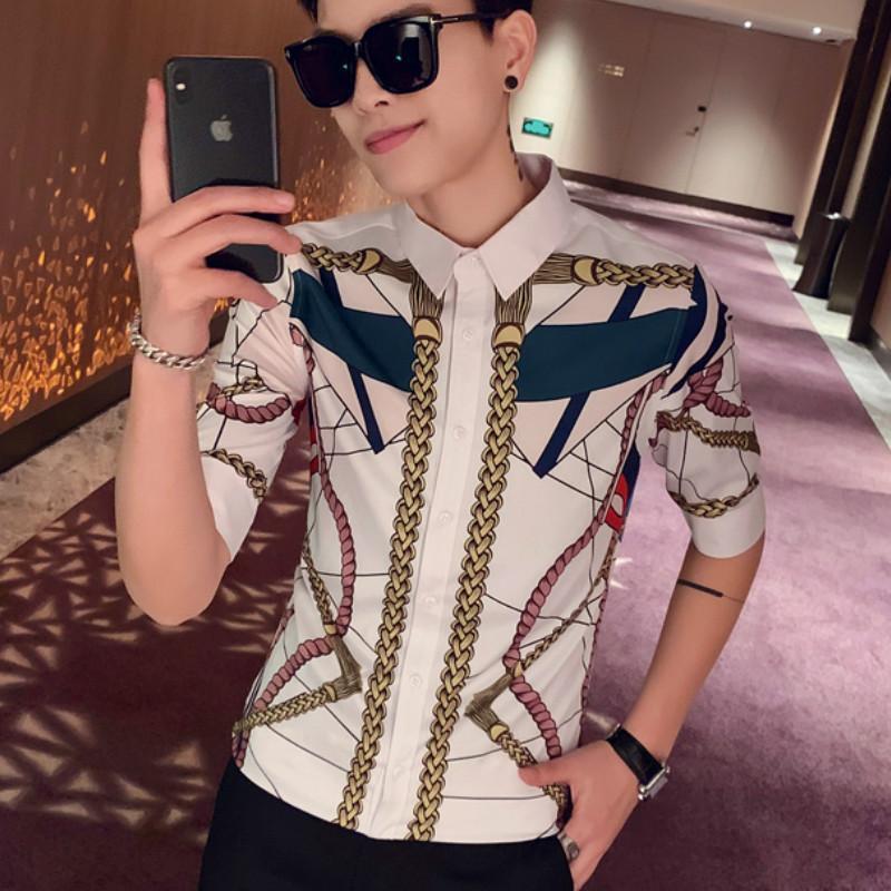 2020 Summer Hawaiian Shirt Men Luxury Print Casual Slim Dress Shirt Short Sleeve Social Night Club Clothing Blouse Homme