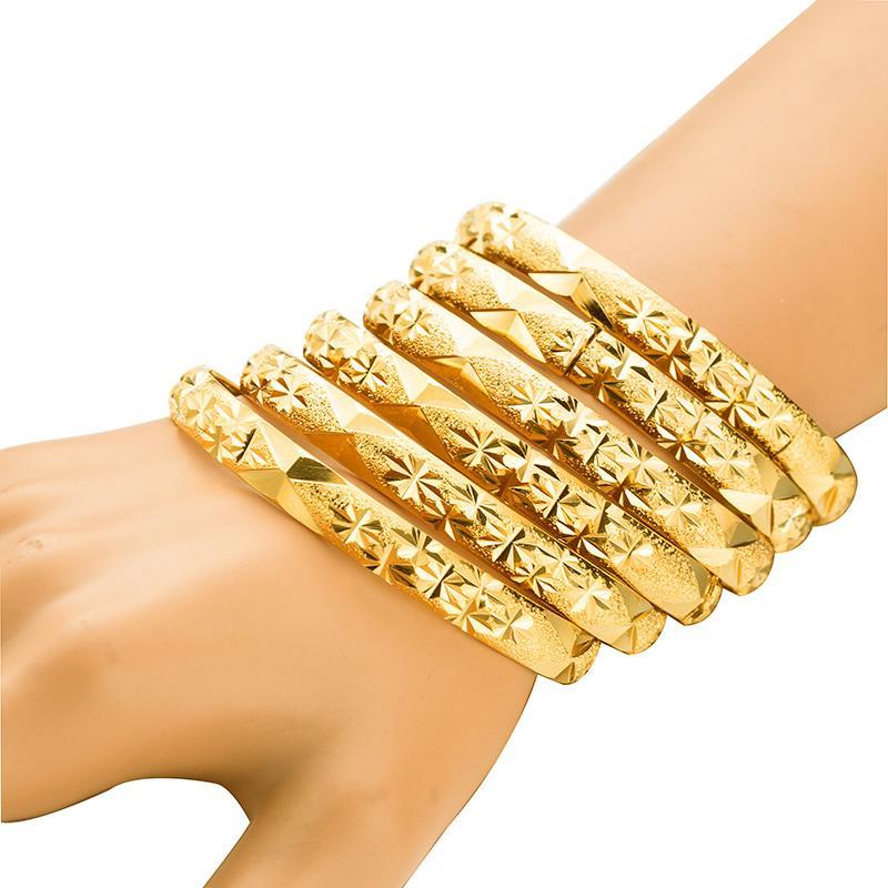 Altın Renk 6 adet / grup Etiyopya Takı Bilezik Dubai Altın Takı Bilezik Kadınlar Için Afrika Bilezik Kadınlar Için Bilezikler Hediyeler Y1126
