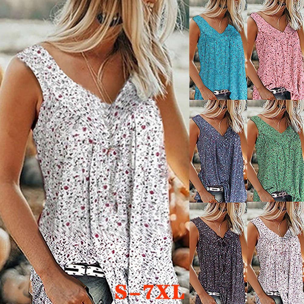 6T2021 New Summer Floral VT Sleevels Frauen Unterwäsche-Shirt