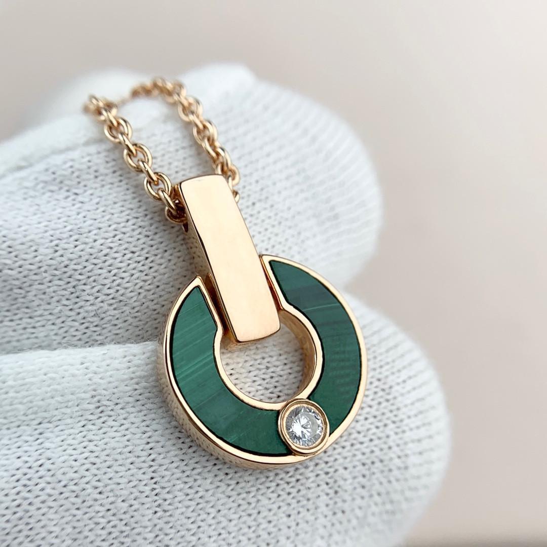 Collier Diamant Bague Mode Naturel Malachite Lettre Pendentif Lady Bijoux Couple Cadeau