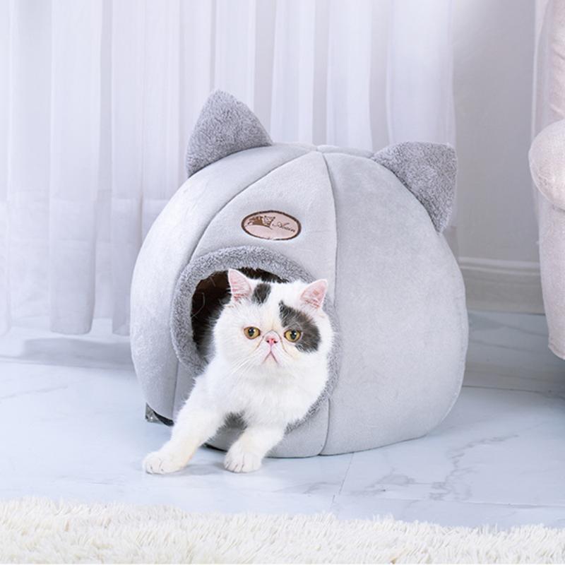 Kedi Yataklar Mobilya Sevimli Yatak Ev Peluş Kış Isınma Mağarası Kapalı Rahat Yavru Yuva Köpek Kulübesi Çıkarılabilir Yumuşak Mat Yastık Ile