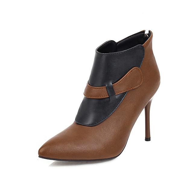 2021 Il nuovo sexy stile partito di punta Colour Color Color Red Zipper Black Stilotto Stivali da equitazione Delle Scarpe da donna T8P0