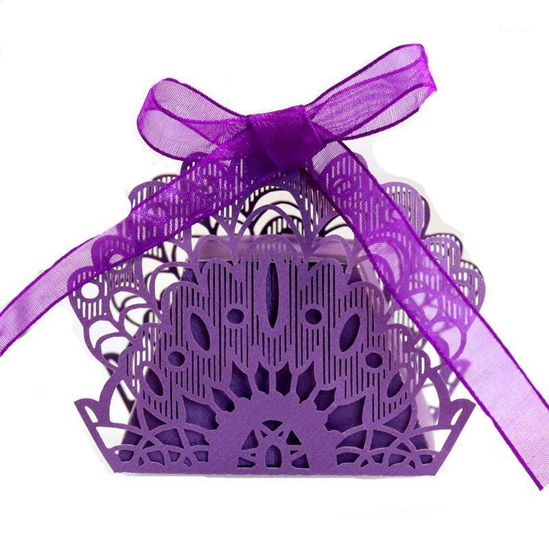 50 stücke Laser Schnitt Hohlwagen Favor Geschenke Pfau Süßigkeiten Boxen mit Band Geburtstag Baby Dusche Hochzeit Partei Favor Supplies1