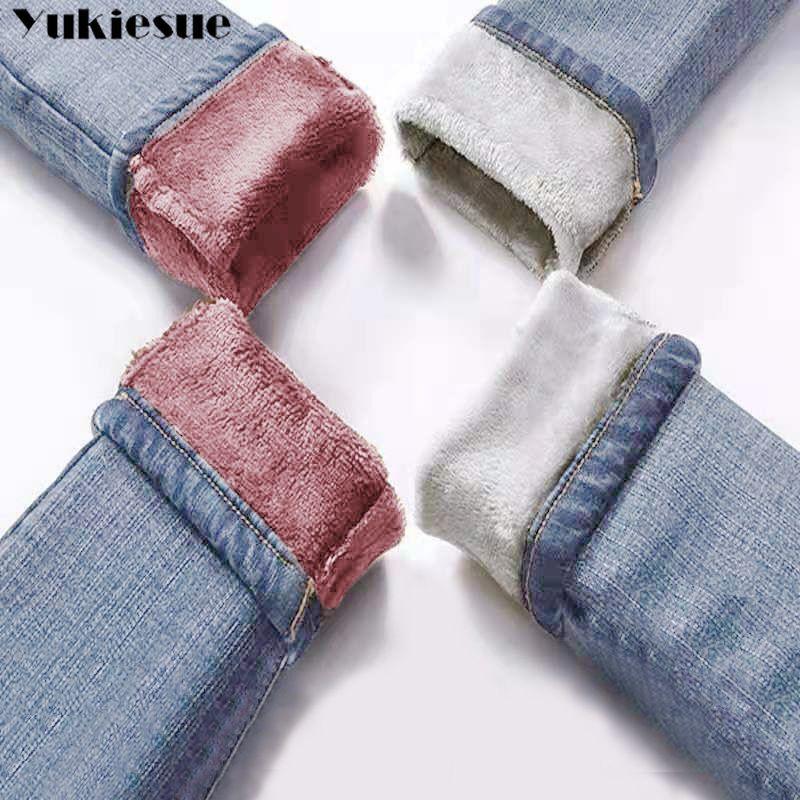 Kış Sıcak Kot Kadın 2019 Yüksek Bel Rahat Kadife Bayanlar Pantolon Kadın Pantalon Kadınlar Için Kot Kot Pantolon Artı Boyutu A1112