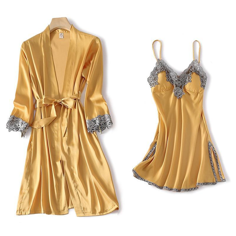 Yellow Lady 2pcs Robe Gown Set Sexy Pizzo Flower Laterale Spalato Rayon Kimono Accappatoio Cinturino Top Sleepdress Belt Splilly Belt