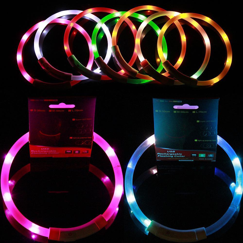USB Ladung Haustiere Hundekragen Außenseite Leuchtende Sicherheit Pet Halsbänder Licht Einstellbare LED Blinkende Welpenbedarf