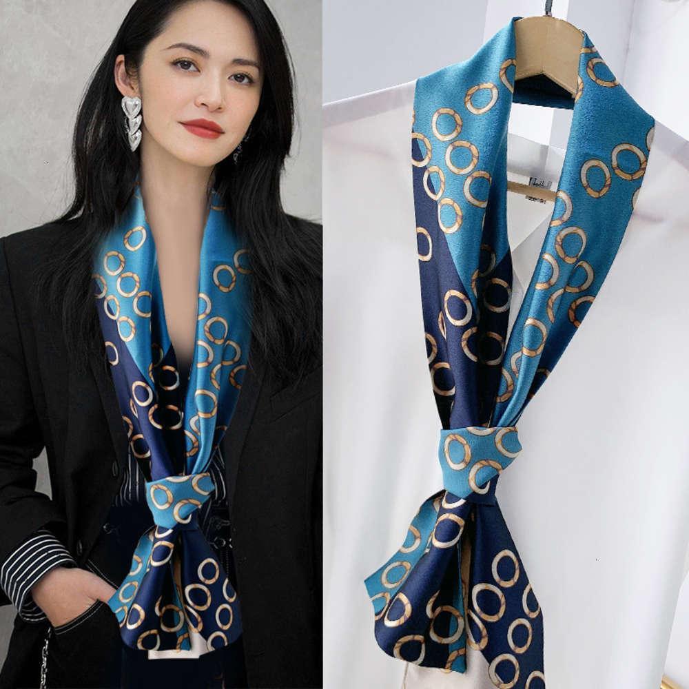 La même écharpe d'étoile, ruban, soie d'imitation, écharpe étroite satinée polyvalente coréenne