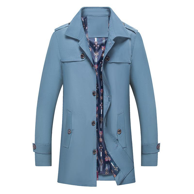 Coupe-vent mi-longue automne commercial occasionnel manteau homme manteau monocontré poitrine unique et mi-âge papa