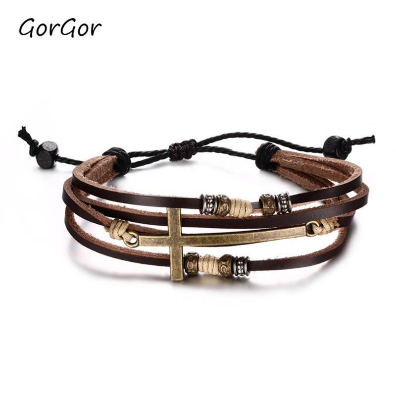 Gorgor New Arilives старинные многослойные кожаные плетеные обертывающие кресты браслеты для моды мужские ювелирные изделия подарок BL-150