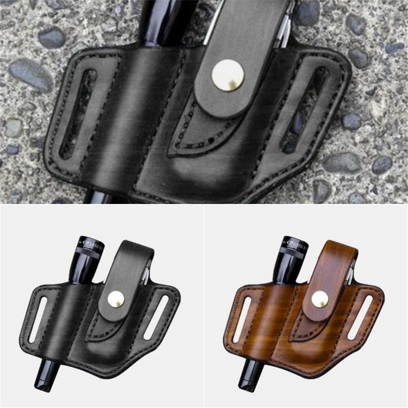 찾기 생존 허리 가방 가벼운 벨트 가방 주위에 휴대 레트로 야외 전술 손전등 가죽 커버 마모 12YZ O2