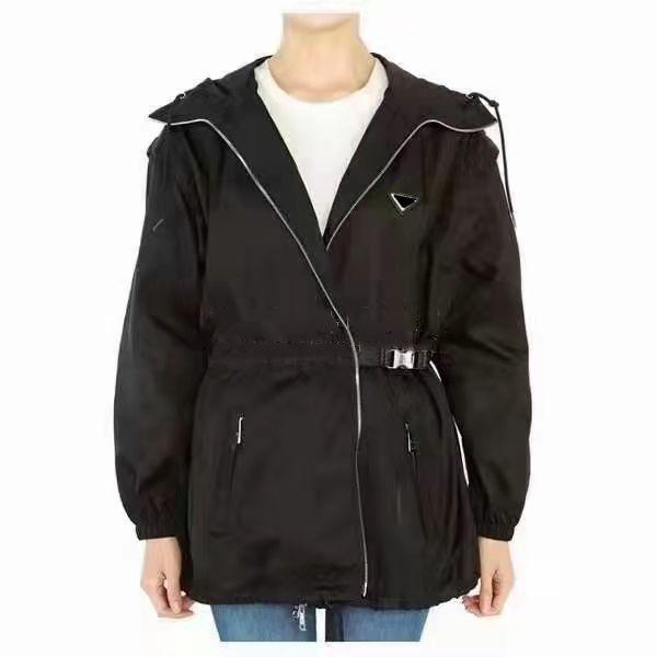 Vista de jaqueta de mulheres longa com mangas de windbreaker com capuz remover casacos com cinto para senhora jaqueta magro branco e preto dois tamanho opção s-l