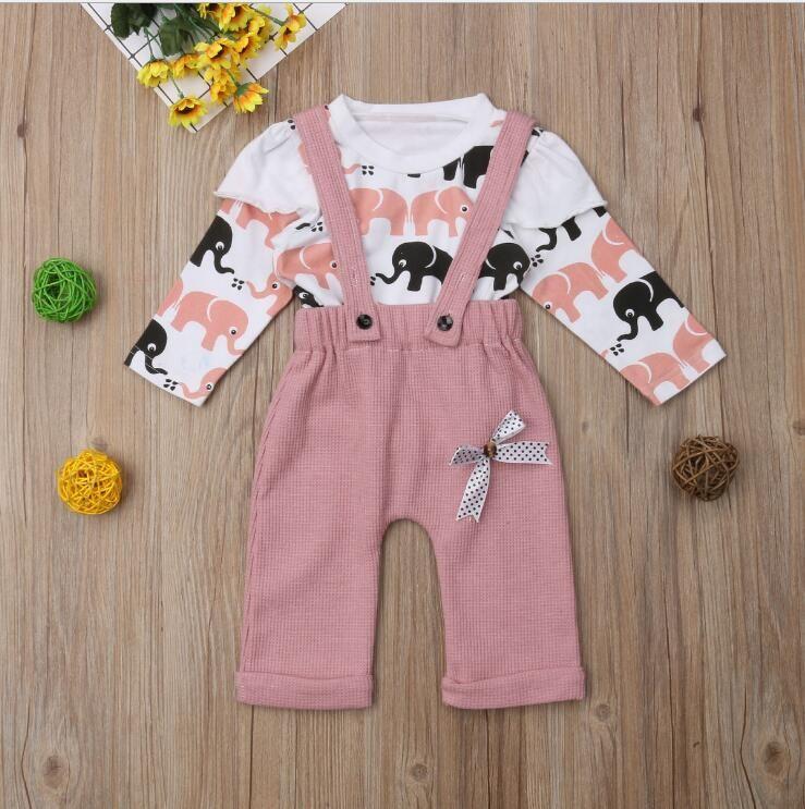 Новый продукт Милый ребенок Девушка слон Печать рубашки с длинными рукавами + нагрудник Двухструктурные лук 2 шт. / Установите детскую одежду
