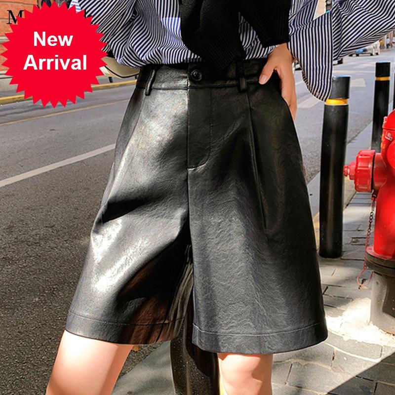 2020 otoño invierno PU casual cintura alta cintura mujer sólido suelto más tamaño pantalones cortos para mujeres 11061