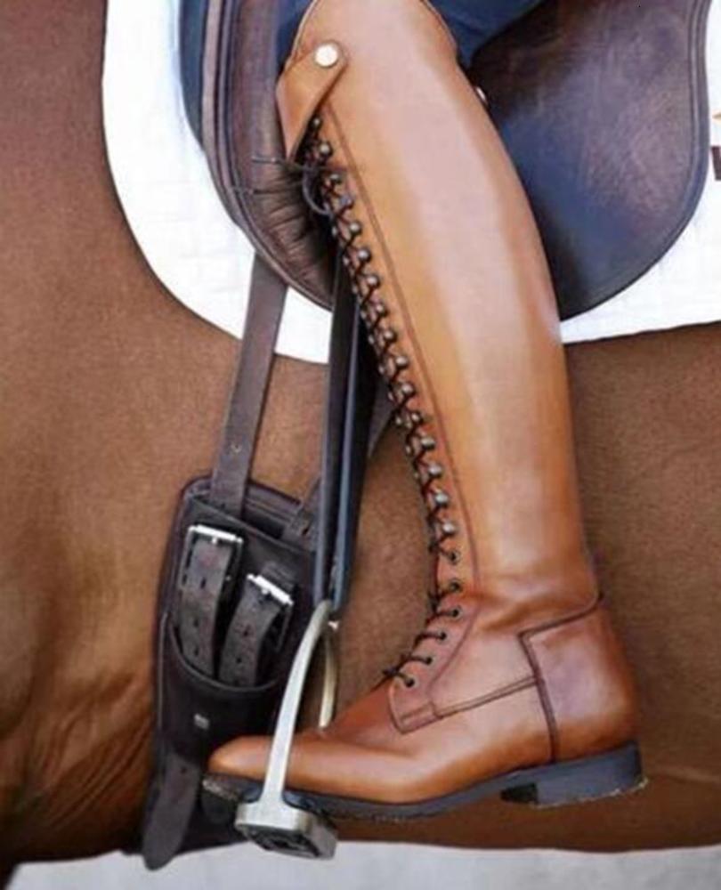 مشمس ايفرست إمرأة فارس الشتاء أحذية كعب مربع ركوب الأحذية لينة لا الانزلاق من جلد الغزال فوق الركبة 35-43