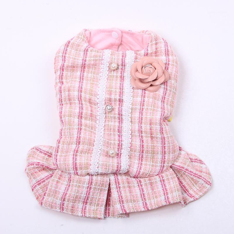 الأميرة الكلب القط اللباس هوديي منقوشة روز تصميم الحيوانات الأليفة جرو تنورة الخريف / الشتاء الملابس الزي 5 أحجام 2 colours1