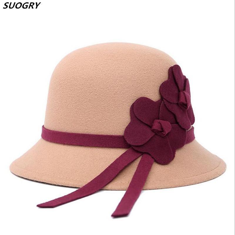 2020 New Coréia Mulheres Wool chapéus de feltro flor Outono-Inverno Fedoras Round Top Cloche Chapéus preto sólido vermelho fêmea