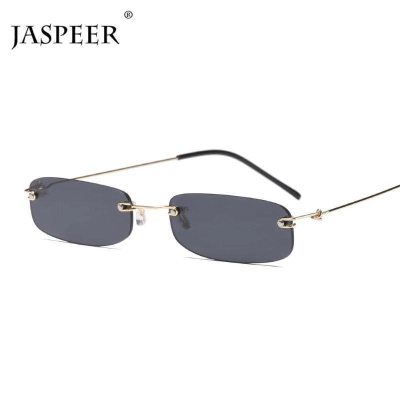 Солнцезащитные очки Jaspeer Ретро Узкие Мужские Очки Rimless прямоугольные Солнцезащитные Очки Для Женщин Небольшое Лицо Простой Панк Мода Очки