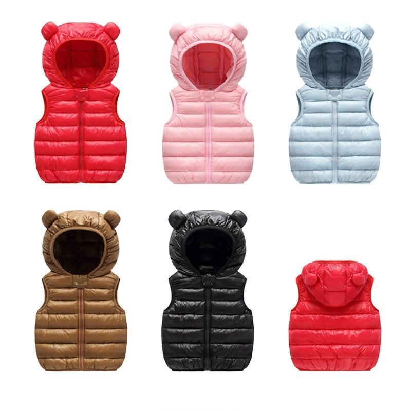 Дети теплый жилет жилет осень детские мальчики девочек утолщение жилетки детей верхняя одежда жилет детские высокое качество с капюшоном куртки жилет Y200831