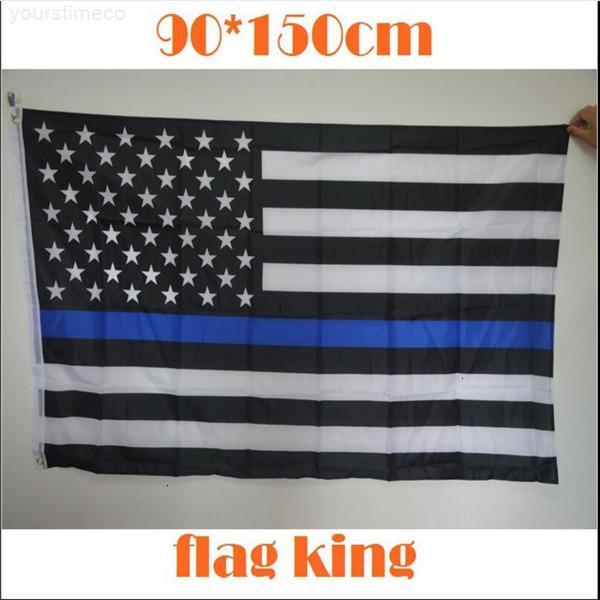 Línea de policía de pie 3 delgada * 5 Estados Unidos Blanco negro y azul bandera americana con banderas de banner de ojos de latón JU0065