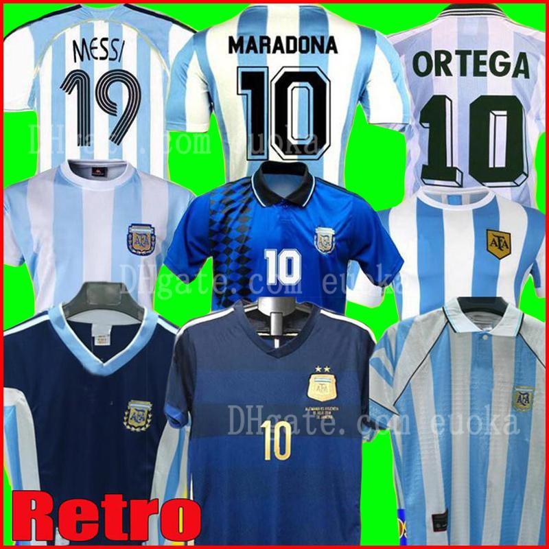 1978 1986 1996 1994 1998 2006 2014 Argentina Messi Futebol Maradona Retro Camisa Caniggia Batistuta RIQUELME ORTEGA Casa Fora camisa de futebol