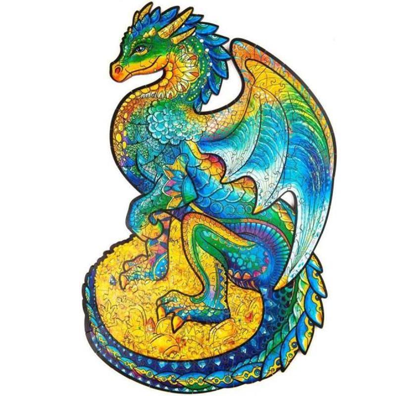 Unicorn Jigsaw Деревянная головоломка Jigsaw, лучший подарок для взрослых и детей, уникальная форма Jigsaw Piece охраны дракона 97 шт.