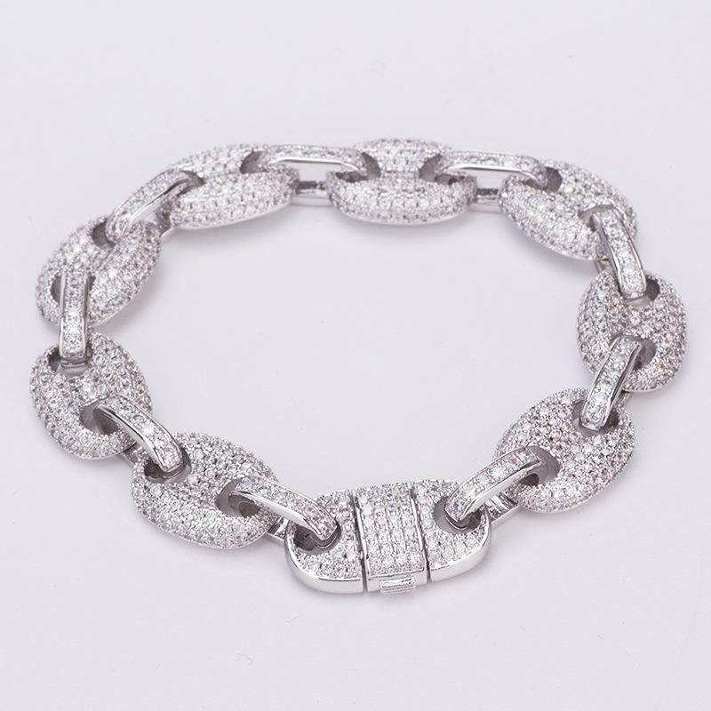 fashion jewelry mens hip hop solid bracelet with micro zircons pig nose cuban chain trendsetter fashion accessories chain bracelet