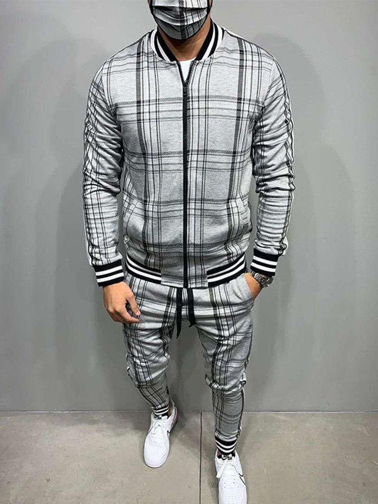 2020 Automne Européenne American Cardigan Cardigan Coffret Fashion Sport Pantalons Hommes Casual Grille Convient à la marque 2 pièces Vêtements de marque X0124