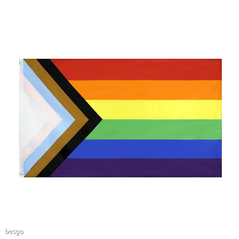Commercio all'ingrosso 90 * 150 cm triangolo Rainbow Flags Banner Poliestere Metallo Gommomieri LGBT Gay Rainbow Progress Pride Bandiera Decorazione DBC BH4589