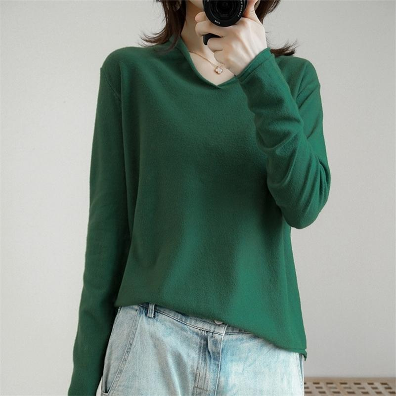 Высокое качество Пуловер вязаный кашемир свитер с длинным рукавом V-воротник свитер Женщины тянуть Femme Nouveaute 201031