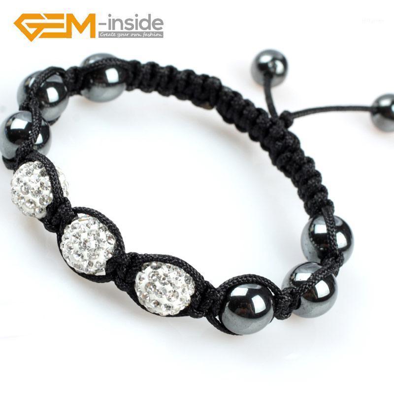 Couleurs assorties de mode 10mm strass Czech Cristal Ball Bracelet noué à la main pour dames cadeau Taille ajustable Livraison gratuite! 1