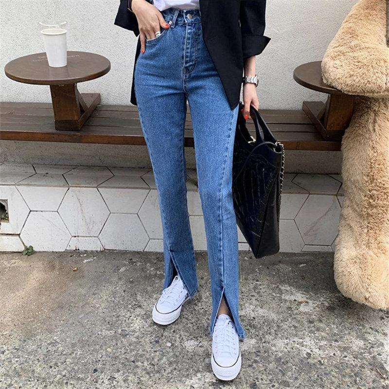 Blue streetwear split jeans 2020 calidad elegante moda elegante cintura alta mujer casual esbelto denim destello pantalones