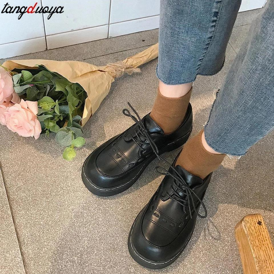New Autumn Women Shoes Solid Black Leather Oxford Shoes Woman Lace Up Thick Bottom Flat Platform Loafers Casual lolita #ql5G