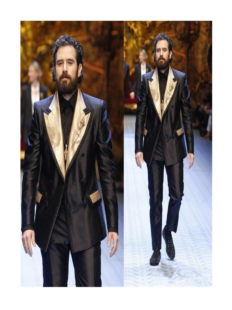 Costumes de qualité supérieure Deux Pièces Designer Hommes Costume Personnalisé Gold Revers Groom Tuxedos pour Mariages Meilleurs Cuissons Homme (Veste + Pantalon)