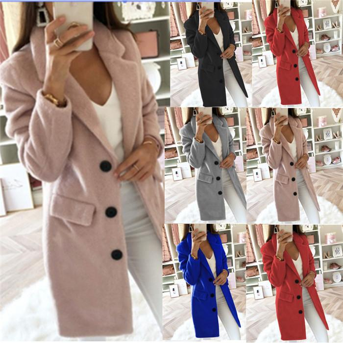 Plus Size Womens Wool Blends Coats Solid Color Single Breasted Lapel Neck Winter Ladies Jackets Slim Fashion Women Outerwear Clothes
