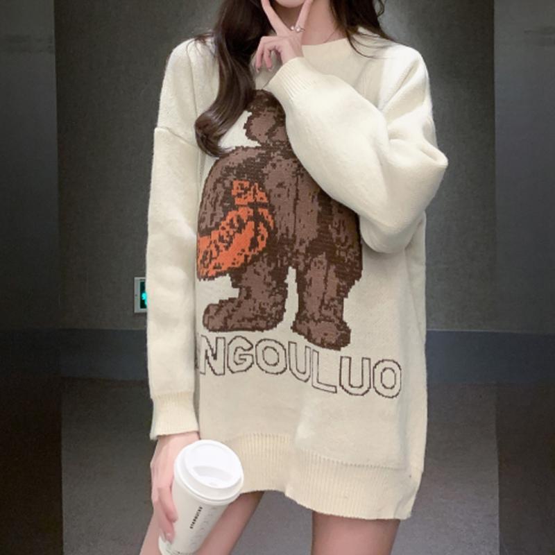Maglia da maglia allentata Maglione Donne Abbigliamento Inverno Teddy Bear Maglioni da donna Versione coreana della versione coreana di Ins Design Blouses