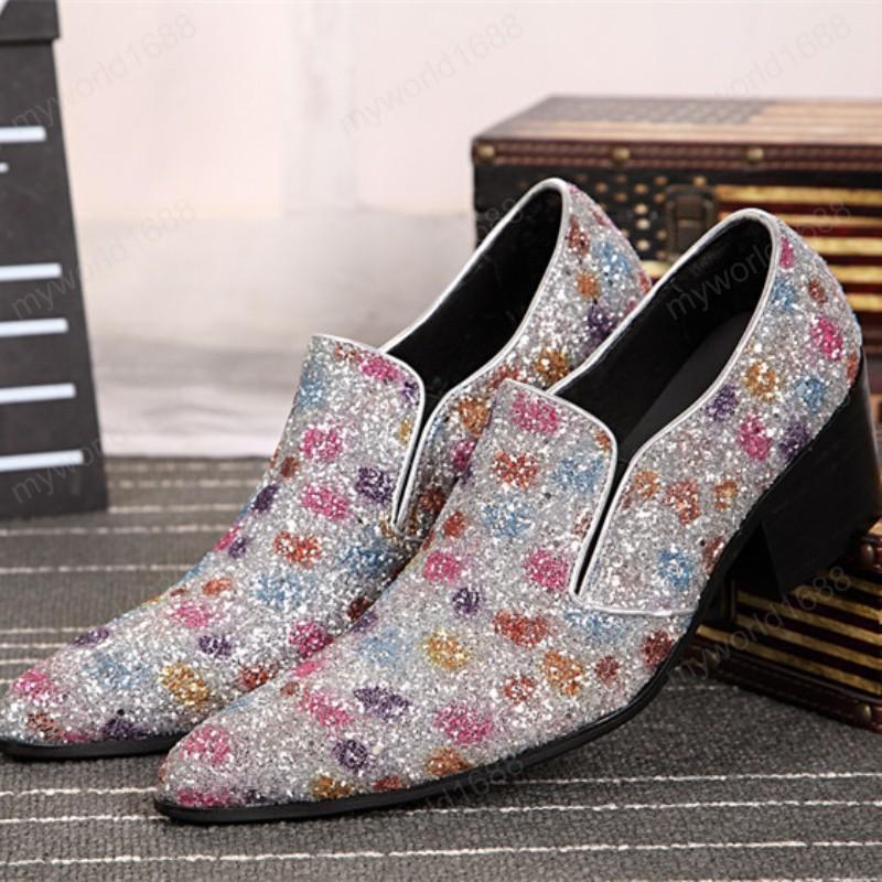 Персонализированная мода заостренный носок многоцветный точечный мужчина платье Университет Обувь натуральная кожа мужская вечеринка выпускная обувь