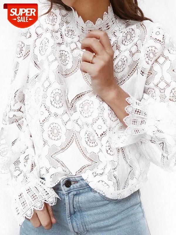 Yaz Casual kadın Vogue Dantel Hollow Ince Bluzlar Uzun Kollu Beyaz Gömlek Şık # DQ0G