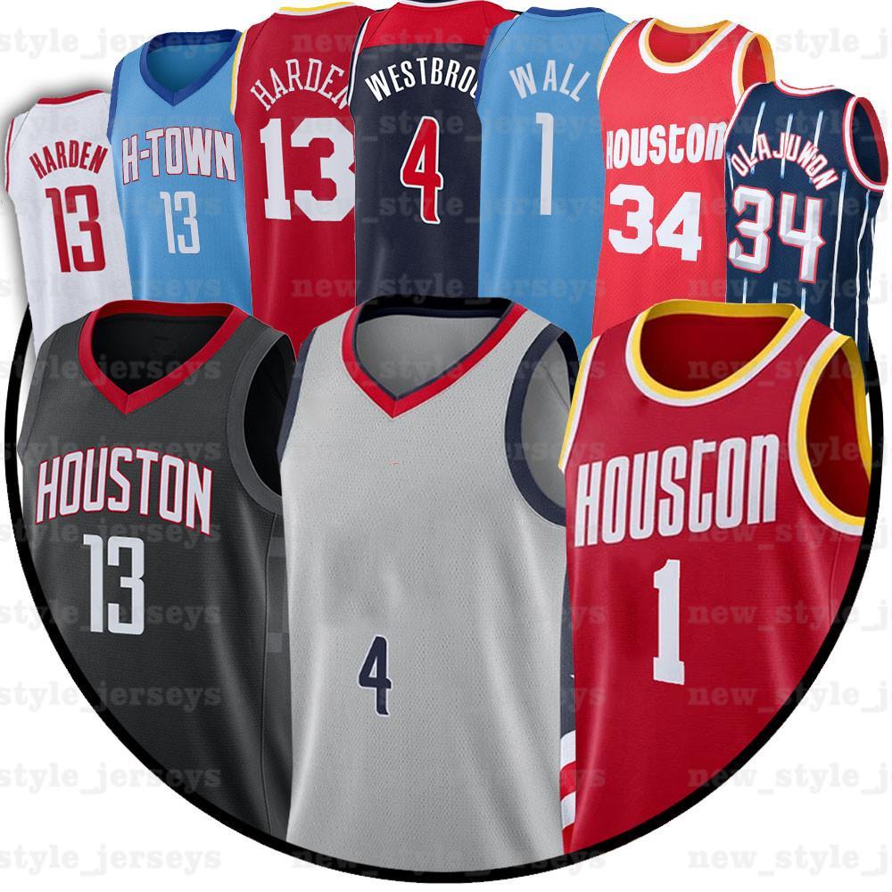 13 Harden 4 Russell 2 John Westbrook Wall Hakeem City 2021 Olajuwon NCAA Hommes Basketball Maillots