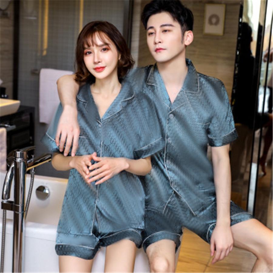 Moda Lover Pijama Set Yaz Ipek Leke Pijama Erkekler Pijama Kısa Kollu Kadınlar Çiçek Baskılı Pijama 2 adet Suit Pijama Çift Home C # 965