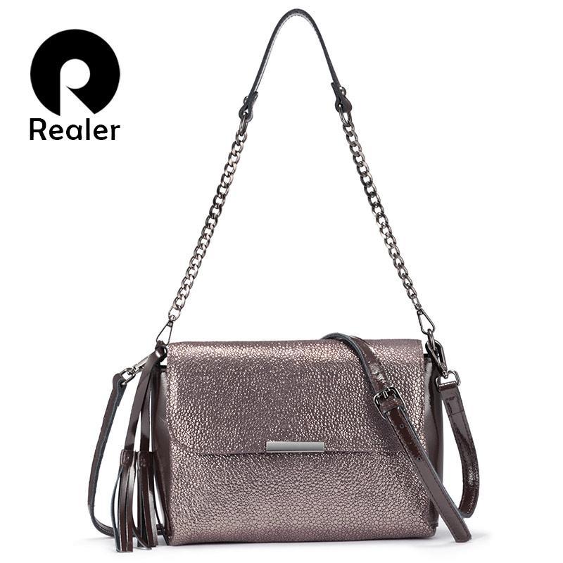 REALER Echtes Leder Crossbody Taschen für Frauen Handtaschen Weibliche Schulter Messenger Bags Kleine Totes Hohe Qualität Top-Griff Tasche