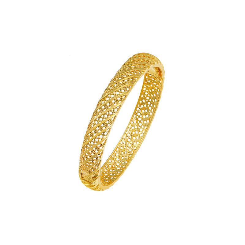 Braccialetto cavo fibbia retrò Semplice 18 carati placcato oro 18 carati vendita diretta Braccialetto femminile, diametro interno: 57mm