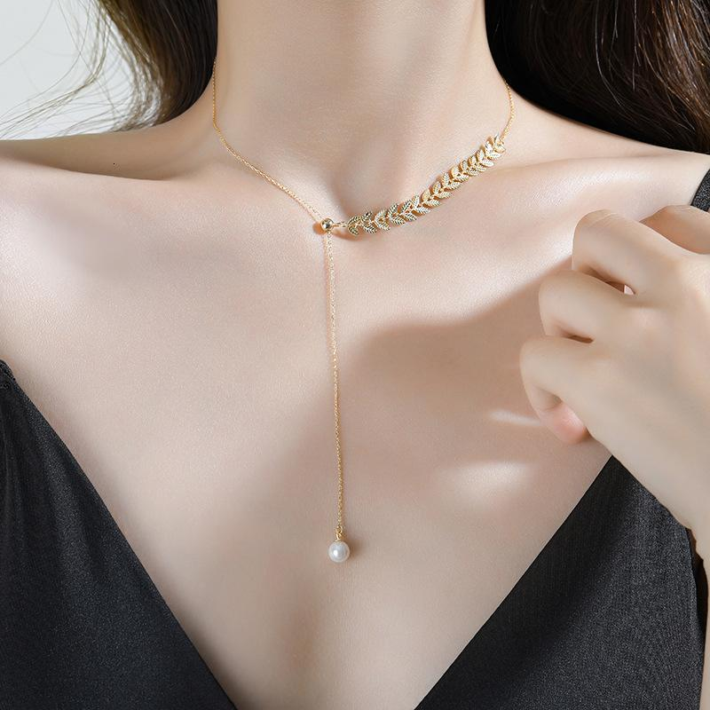 Yunxiaoshu S925 Чистое серебряное жемчужное ожерелье из пшеницы для женщин: легкий роскошный дизайн, простая ключа и цепочка шеи