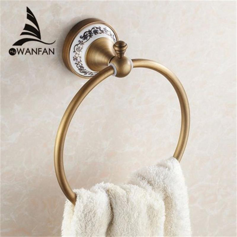 Towel Rings Wall Mounted Towel Holder Towel Ring Solid Brass Construction Antique Bronze Finish Bathroom Accessories HJ-1808 T200605